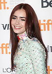 Lily Collins attending the The 2012 Toronto International Film Festival.Red Carpet Arrivals for 'Writers' at the Ryerson Theatre in Toronto on 9/9/2012