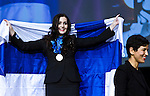 Lille - France- 05 October 2014 --  Euroskills 2014 competition, closing ceremony and medals. -- Team Finland - Anna-Kaisa Lehtonen, kultaa, gold medalist kauneudenhoito / Beauty Therapy -- PHOTO: SkillsFinland / Juha ROININEN - EUP-IMAGES