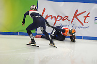 SHORT TRACK: TORINO: 14-01-2017, Palavela, ISU European Short Track Speed Skating Championships, Semifinals Relay, Suzanne Schulting (NED) gets injured after a fall, Lara van Ruijven (NED) continues the race, ©photo Martin de Jong