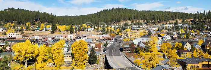 A photo of old town Truckee, Ca with fall colors.