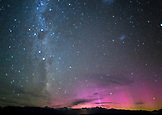 NEW ZEALAND, Okarito, Southern Lights over the Southern Alps from the Okartio Trig, Ben M Thomas