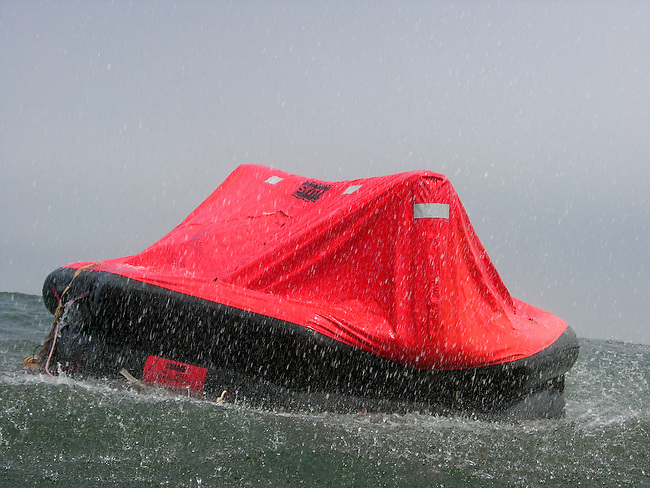 Liferaft in storm out at sea