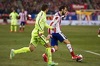 Atletico de Madrid´s Juanfran and Barcelona´s Jordi Alba during 2014-15 Spanish King Cup match between Atletico de Madrid and Barcelona at Vicente Calderon stadium in Madrid, Spain. January 28, 2015. (ALTERPHOTOS/Luis Fernandez) /nortephoto.com<br />