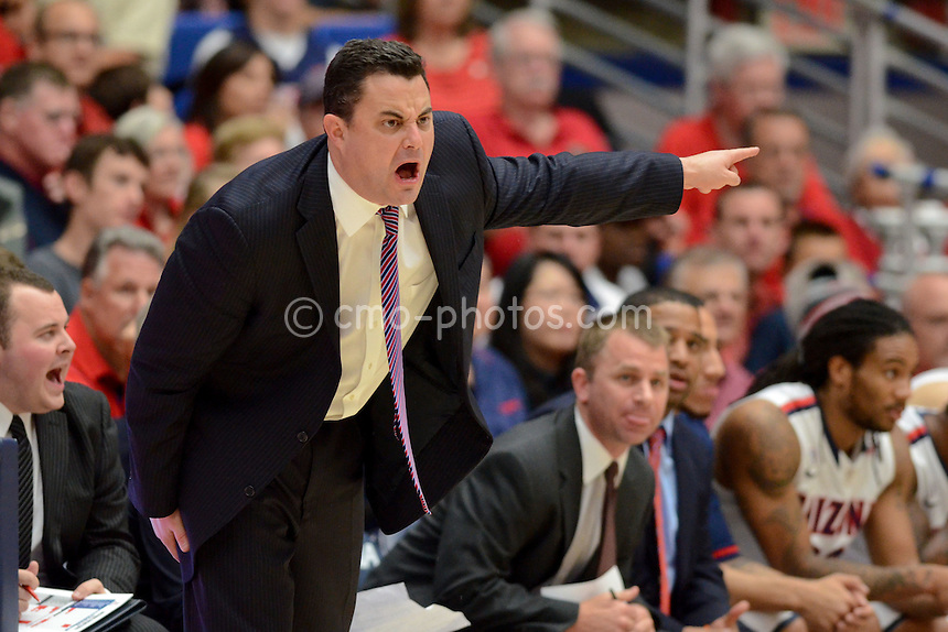 Nov 23, 2011; Tucson, AZ, USA; Arizona Wildcats head coach Sean Miller yells at his team in the first half of a game against the San Diego State Aztecs at the McKale Center.  Mandatory Credit: Chris Morrison-US PRESSWIRE