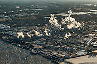 Aerial view of an oil refinery, Philadelphia, Pennsylvania, USA