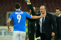 Rafael Benitez  and  Gonzalo Higuain  celebrates after scoring during the Italian Serie A soccer match between   SSC Napoli and UC Sampdoria at San Paolo  Stadium in Naples ,April 26 , 2015