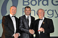At the Bord G&aacute;is Energy Munster GAA Sports Star of the Year Awards in The Malton Hotel, Killarney on Saturday night were front from left, Dave Kirwan, Managing Director, Bord Gais Enerergy, referee Damian Fox and Robert Frost, Chairman, Munster GAA.<br /> Picture by Don MacMonagle<br /> <br /> PR photo from Munster Council
