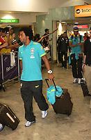 LONDRES, INGLATERRA, 17 JULHO 2012 - DESEMBARQUE SELECAO BRASILEIRA OLIMPICA EM LONDRES - Marcelo da selecao masculina olimpica de futebol desembarca no Aeroporto de Heathrow em Londres na Inglaterra, nesta terca-feira, 17. (FOTO: GUILHERME ALMEIDA / BRAZIL PHOTO PRESS).