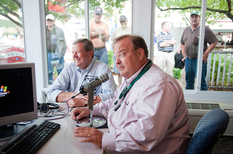 UNITED STATES - AUGUST 16:  Rep. Tom Latham, R-Iowa, left, is interviewed by radio host David Pearson, of WHO radio at the Iowa State Fair in Des Moines, Iowa.  (Photo By Tom Williams/Roll Call)
