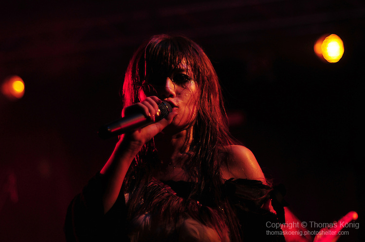 Kaohsiung, Taiwan -- Singer TWIN of the Japanese metal band SOUNDWITCH on stage during the 'Kiss Me Kill Me 2011 Tour' at The Wall Live House (Pier 2) in Kaohsiung, Taiwan.