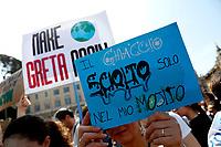 Banners<br /> Rome April 19th 2019. Fridays for Future Climate Strike in Rome, Piazza del Popolo.<br /> photo di Samantha Zucchi/Insidefoto