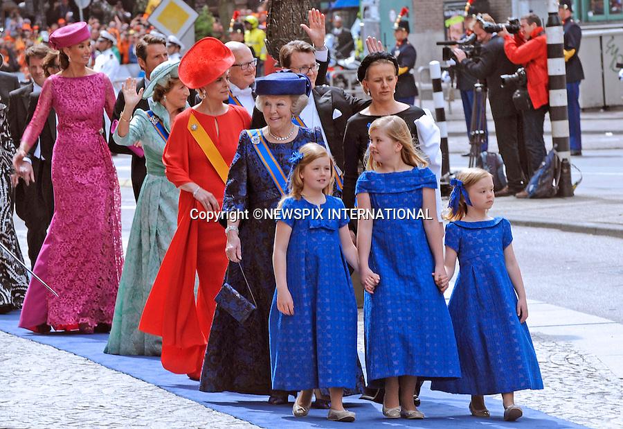 "30.04.2013; Amsterdam: KING WILLEM-ALEXANDER INAUGURATION.PRINCESS BEATRIX AND PRINCESS MABEL ACCOMPANY PRINCESS ALEXIA(left), PRINCESS CATHARINA-AMALIA AND PRINCESS ARIANE(right) OF THE NETHERLANDS.Princess Alexia (left) Crown Princess Catharina-Amalia, and Princess Ariane (right) to their father King Willem-Alexander's inauguration at Nieuwe Kerk, Amsterdam, The Netherlands, .Mandatory Credit Photos: ©NEWSPIX INTERNATIONAL..**ALL FEES PAYABLE TO: ""NEWSPIX INTERNATIONAL""**..PHOTO CREDIT MANDATORY!!: NEWSPIX INTERNATIONAL(Failure to credit will incur a surcharge of 100% of reproduction fees)..IMMEDIATE CONFIRMATION OF USAGE REQUIRED:.Newspix International, 31 Chinnery Hill, Bishop's Stortford, ENGLAND CM23 3PS.Tel:+441279 324672  ; Fax: +441279656877.Mobile:  0777568 1153.e-mail: info@newspixinternational.co.uk"