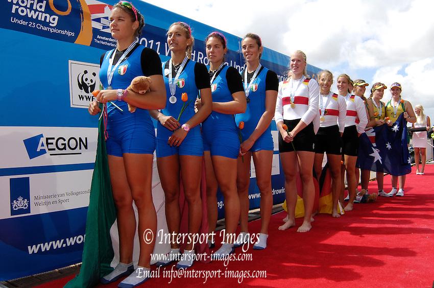 Amsterdam, NETHERLANDS, BW4X, Medal ceremony, 2011 FISA U23 World Rowing Championships, Saturday, 23/07/2011 [Mandatory credit:  Intersport Images]