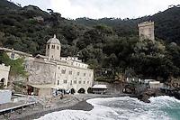 Veduta dell'Abbazia di San Fruttuoso e della torre Doria sulla destra, nei pressi di Camogli.<br /> View of the Abbey of San Fruttuoso and the Doria tower, at right, near Camogli.<br /> UPDATE IMAGES PRESS/Riccardo De Luca