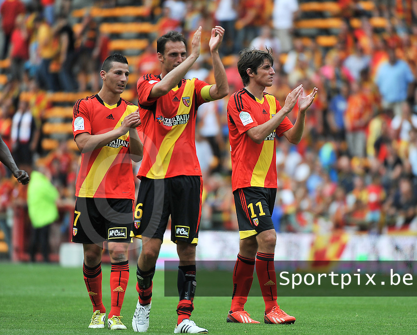 RC Lens - AJ Auxerre : Yoann Touzghar (left) , Jerome Le Moigne (middle) and Pablo Chavarria (right) <br /> foto David Catry / nikonpro.be