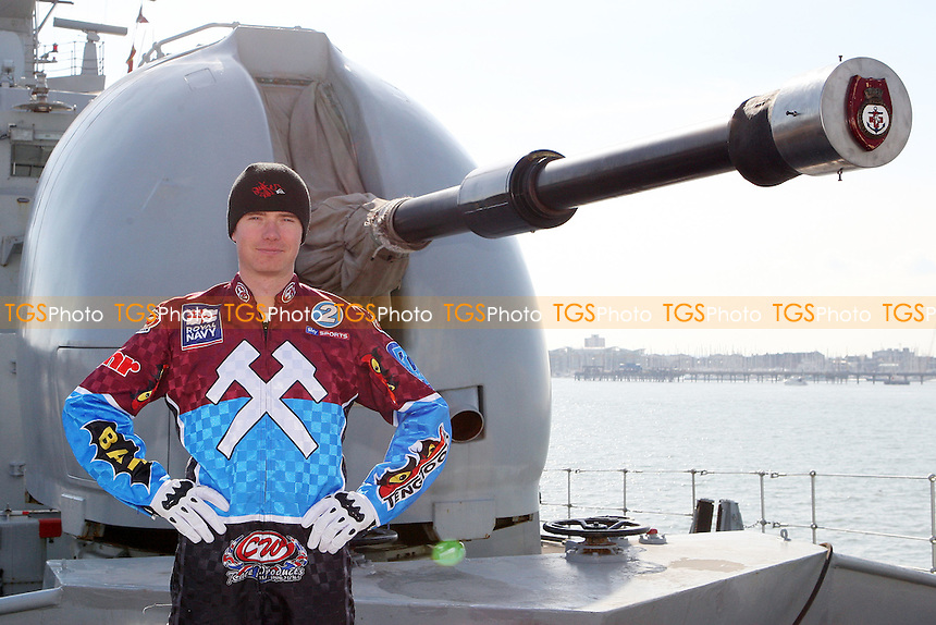 Stuart Robson of Lakeside Hammers - Lakeside Hammers on HMS Kent, Portsmouth - 02/03/10 - MANDATORY CREDIT: Rob Newell/TGSPHOTO - Self billing applies where appropriate - 0845 094 6026 - contact@tgsphoto.co.uk - NO UNPAID USE.