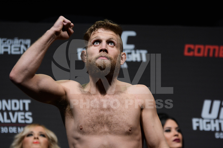 GOIÂNIA, GO, 29.05.2015 – UFC-GOIÂNIA – Nik Lentz durante pesagem para o UFC Goiânia  no Goiânia Arena em Goiânia na tarde desta sexta-feira, 29. (Foto: Ricardo Botelho / Brazil Photo Press)