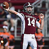 Colin Hart #14, Garden City throws a pass during a Nassau County Conference II varsity football game against Carey at Garden City High School on Saturday, Sept. 29, 2018. Garden City won by a score of 38-14.