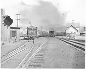 C-25 #375 switching passenger cars.<br /> D&amp;RGW  Durango, CO  ca 1940
