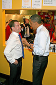United States President Barack Obama and Russian Federation President Dmitry Medvedev order cheeseburgers and fries at Ray's Hell Burger in Arlington, Virginia, during the Russian president's visit to Washington, DC, Thursday, June 24, 2010..Credit: Martin H. Simon - Pool via CNP