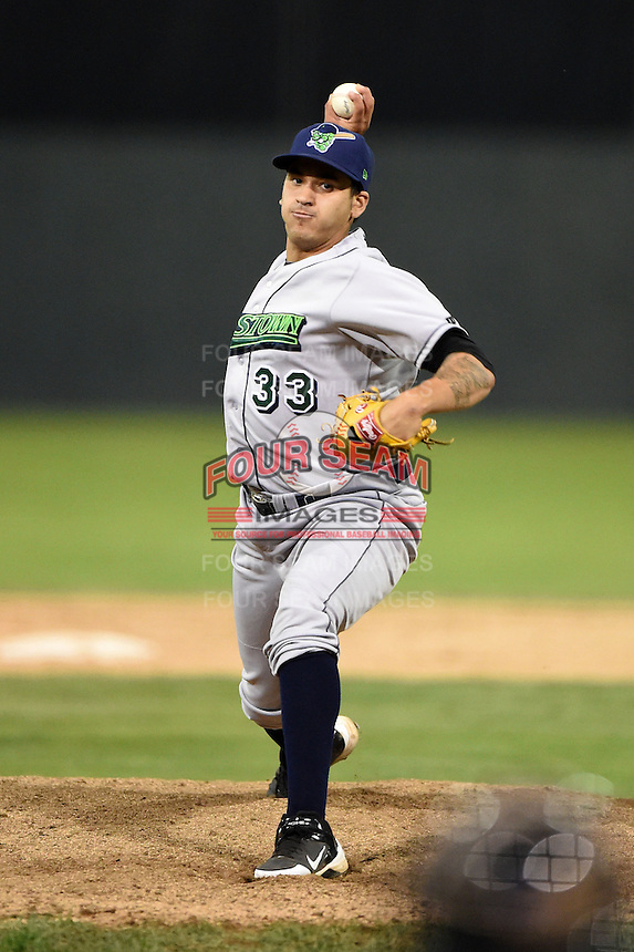 Jamestown Jammers pitcher Julio Eusebio (33) delivers a pitch during a game against the Batavia Muckdogs on July 7, 2014 at Dwyer Stadium in Batavia, New York.  Batavia defeated Jamestown 9-2.  (Mike Janes/Four Seam Images)