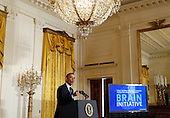 United States President Barack Obama delivers remarks at the announcement of the Administration's BRAIN (Brain Research through Advancing Innovative Neurotechnologies) Initiative in the East Room of the White House in Washington, D.C. on Tuesday, April 2, 2013..Credit: Molly Riley / Pool via CNP