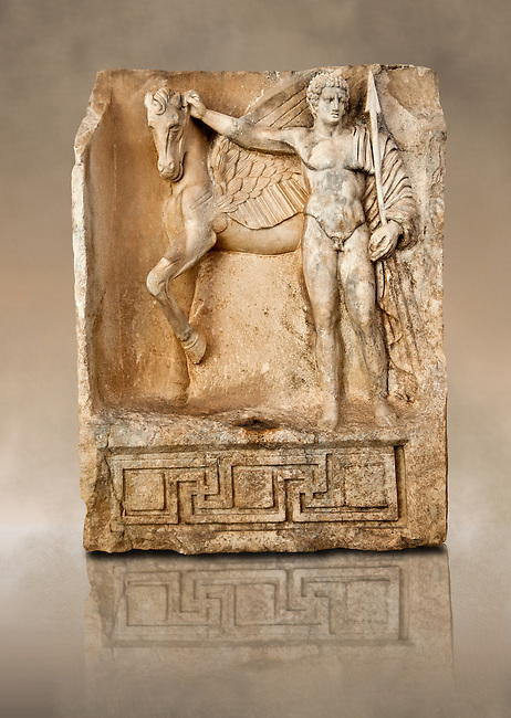 Photo of Roman releif sculpture of Bellerophon, Aphrodisias, Turkey, Images of Roman art bas releifs. Buy as stock or photo art prints. Bellerophon was a Lykian hero who was claimed to be the founder of Aphrodisias. He holds the winged horse Pegasos. The quality of the carving is poor indicating an apprentice piece.
