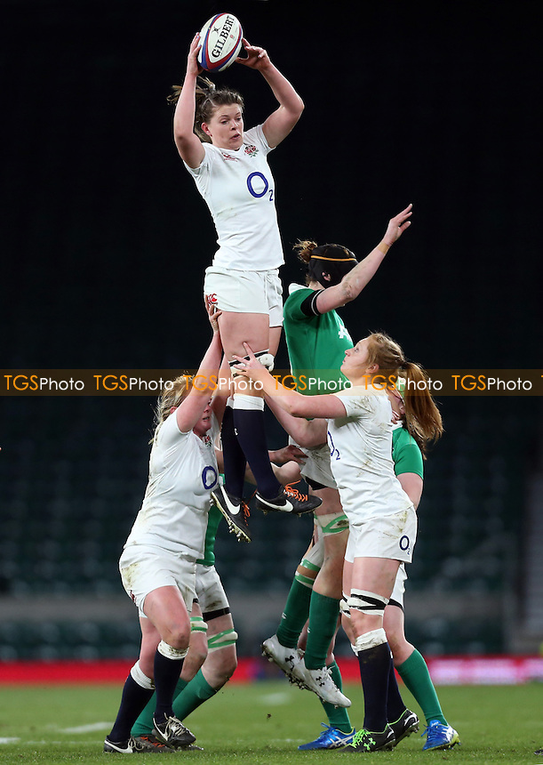 Enghland win a line-out during England Women vs Ireland Women, Women's Six Nations Rugby Union at Twickenham Stadium, London
