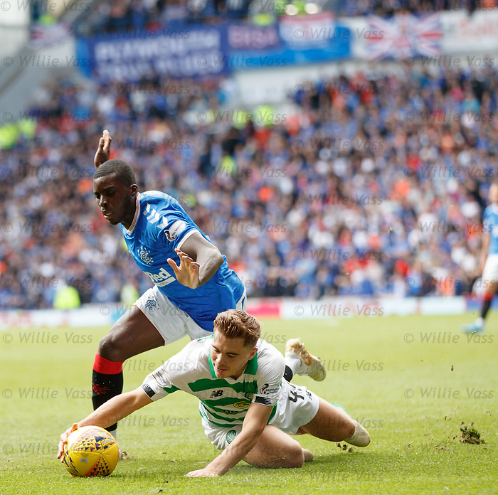01.09.2019 Rangers v Celtic: Sheyi Ojo and James Forrest