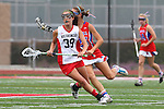 Redondo Beach, CA 05/14/11 - Hailey Fessenden (Los Alamitos #25) and unidentified Redondo Union playerin action during the 2011 US Lacrosse / CIF Southern Section Division 1 Girls Varsity Lacrosse Championship, Los Alamitos defeated Redondo Union 17-5.