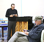 """Chazz Palminteri and Robert De Niro during the open press rehearsal for """"A Bronx Tale - The New Musical""""  at the New 42nd Street Studios on October 21, 2016 in New York City."""