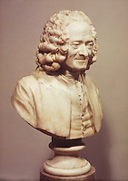 Jean-Antoine Houdon:  Voltaire, marble, 1778.  At National Gallery of Art, Widener Collection.  Reference only.