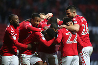 Charlton players congratulate Ahmed Kashi after scoring their opening goal during Charlton Athletic vs Oxford United, Sky Bet EFL League 1 Football at The Valley on 3rd February 2018