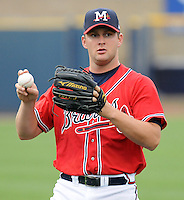 11 April 2008: RHP Todd Redmond (34) of the Mississippi Braves, Class AA affiliate of the Atlanta Braves, in a game against the Mobile BayBears at Trustmark Park in Pearl, Miss. Photo by:  Tom Priddy/Four Seam Images