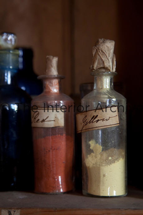 Bottles of colour pigments in the Countess of Rosse's darkroom