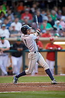 Cedar Rapids Kernels center fielder Aaron Whitefield (1) follows through on a swing during a game against the Dayton Dragons on May 10, 2017 at Fifth Third Field in Dayton, Ohio.  Cedar Rapids defeated Dayton 6-5 in ten innings.  (Mike Janes/Four Seam Images)