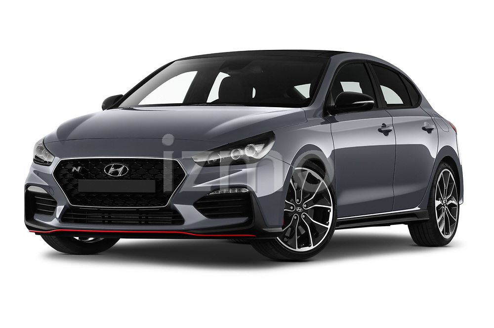 Stock pictures of low aggressive front three quarter view of 2019 Hyundai i30-Fastback-N Performance-Pack 5 Door Hatchback Low Aggressive