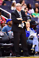 Washington, DC - June 15, 2018: Washington Mystics head coach Mike Thibault on the sideline during game between the Washington Mystics and New York Liberty at the Capital One Arena in Washington, DC. (Photo by Phil Peters/Media Images International)