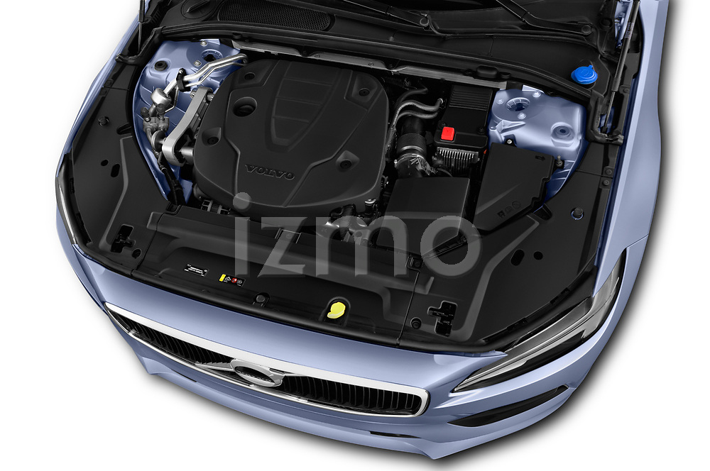 Car stock 2019 Volvo V90 Momentum 5 Door Wagon engine high angle detail view