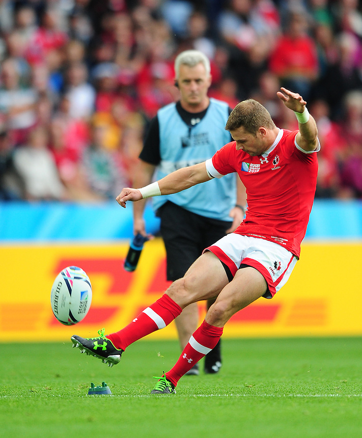 Canada's Gordon McRorie kicks his first penalty of the game<br /> <br /> Photographer Chris Vaughan/CameraSport<br /> <br /> Rugby Union - 2015 Rugby World Cup Pool D - Canada v Romania - Tue 6 October 2015 - King Power Stadium, Leicester <br /> <br /> &copy; CameraSport - 43 Linden Ave. Countesthorpe. Leicester. England. LE8 5PG - Tel: +44 (0) 116 277 4147 - admin@camerasport.com - www.camerasport.com