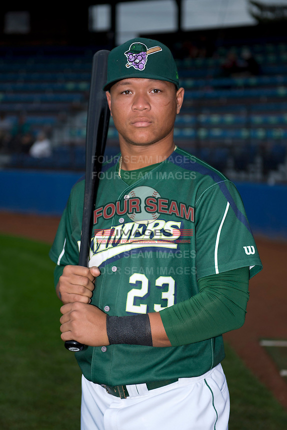 Jamestown Jammers outfielder Harold Ramirez (23) poses for a photo before a game against the State College Spikes on September 3, 2013 at Russell Diethrick Park in Jamestown, New York.  State College defeated Jamestown 3-1.  (Mike Janes/Four Seam Images)