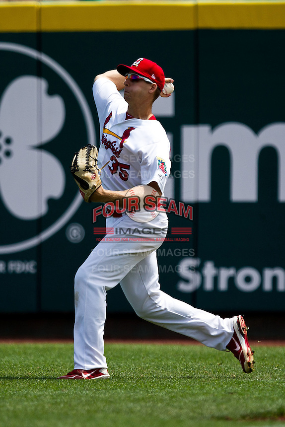Kyle Conley (35) of the Springfield Cardinals throws a ball back into the infield during a game against the Arkansas Travelers at Hammons Field on May 8, 2012 in Springfield, Missouri. (David Welker/ Four Seam Images)