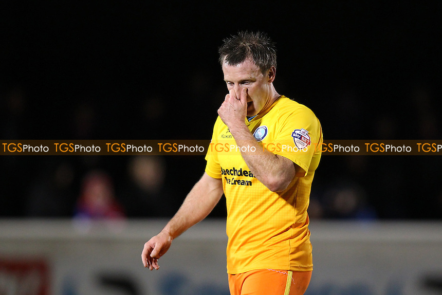 Garry Thompson of Wycombe Wanderers leaves the field having been sent off by referee Stroud during Dagenham and Redbridge vs Wycombe Wanderers, Sky Bet League 2 Football at the Chigwell Construction Stadium,