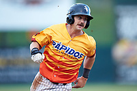 Ian Dawkins (6) of the Los Rapidos de Kannapolis hustles towards third base against the West Virginia Power at Kannapolis Intimidators Stadium on July 25, 2018 in Kannapolis, North Carolina. The Los Rapidos defeated the Power 8-7 in game two of a double-header. (Brian Westerholt/Four Seam Images)
