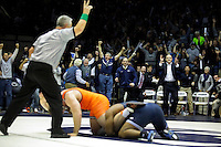 STATE COLLEGE, PA -DECEMBER 19: Jimmy Lawson of the Penn State Nittany Lions takes down Ty Walz of the Virginia Tech Hokies in overtime to win the match on December 19, 2014 at Recreation Hall on the campus of Penn State University in State College, Pennsylvania. Penn State won 20-15. (Photo by Hunter Martin/Getty Images) *** Local Caption *** Jimmy Lawson;Ty Walz