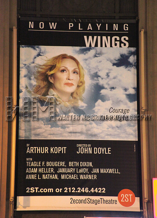 "Theatre Marquee for the Opening Night Performance of the Second Stage Theatre's Production of ""WINGS"" in New York City. October 24, 2010.© Walter McBride /  .."