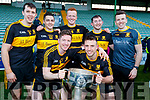 Dr. Crokes winning captains from their 7 titles since 2000, back from left, Michael Moloney, Brian Looney, Johnny Buckley, Daithi Casey, Ambrose O'Donovan, with front, from left, Kieran O'Leary and John Payne with the Bishop Moynihan cup after  after winning the Kerry County Senior Club Football Championship Final match between Dr Crokes and Dingle at Austin Stack Park in Tralee, Kerry on Sunday.