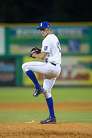 Burlington Royals relief pitcher Walker Sheller (18) in action against the Bluefield Blue Jays at Burlington Athletic Stadium on June 27, 2016 in Burlington, North Carolina.  The Royals defeated the Blue Jays 9-4.  (Brian Westerholt/Four Seam Images)