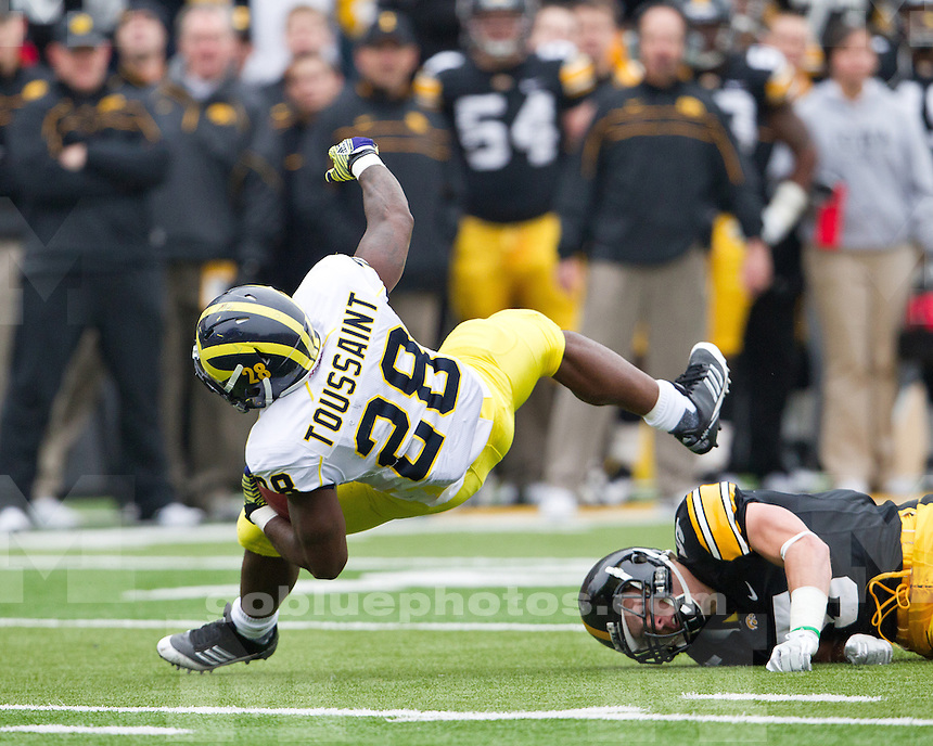 The University of Michigan football teams fell to the University of Iowa Hawkeyes, 24-16, at Kinnick Stadium in Iowa City, Iowa, on November 5, 2011.