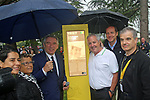 Former winner Stephen Roche (IRL) stands beside the newly unveiled sign dedicated to his 1987 Tour victory with Francois Bayrou Mayor of Pau and Christian Prudhomme ASO tour Director before Stage 12 of the 104th edition of the Tour de France 2017, running 214.5km from Pau to Peyragudes, France. 13th July 2017.<br /> Picture: ASO/Olivier Chabe | Cyclefile<br /> <br /> <br /> All photos usage must carry mandatory copyright credit (&copy; Cyclefile | ASO/Olivier Chabe)